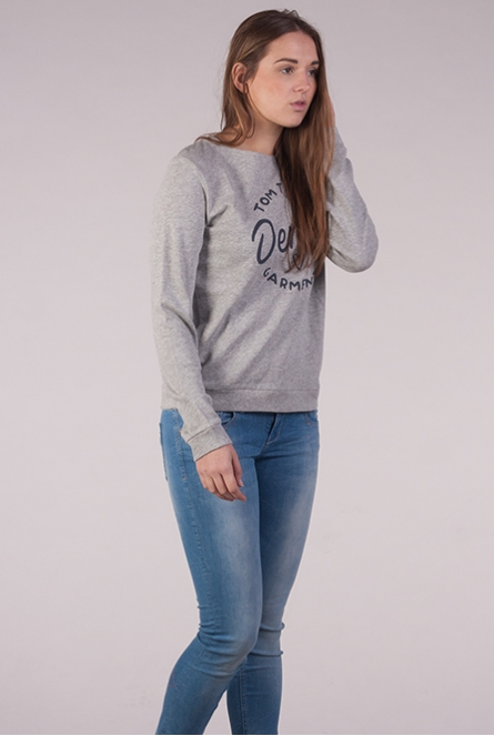 Sweater met opdruk cement grey melange
