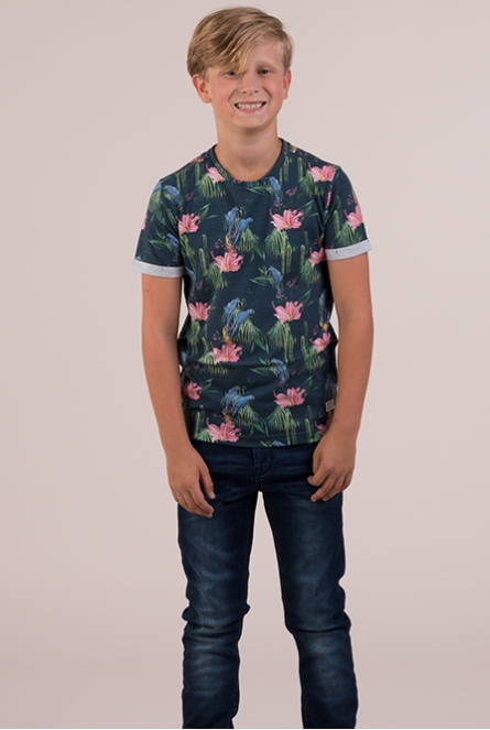 Tropical shirt Cocos Donker blauw