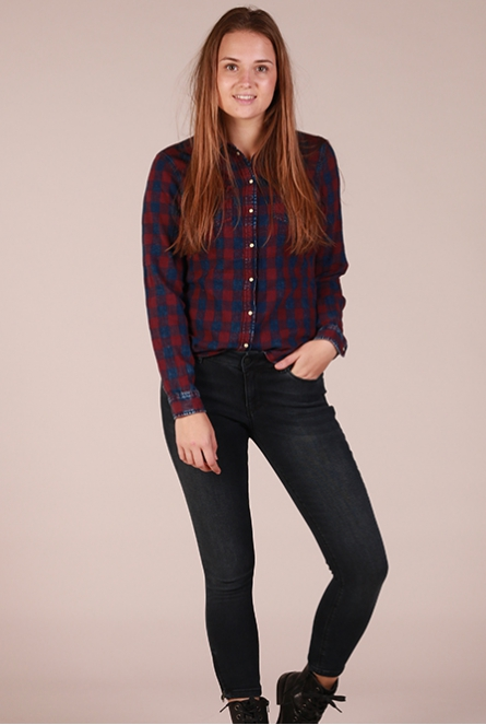 Geruite Blouse Rock it Aubergine