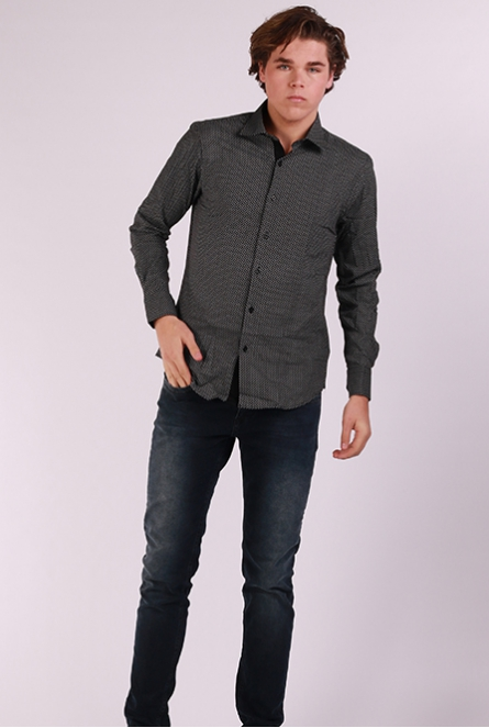 Overhemd slim-fit Print wit