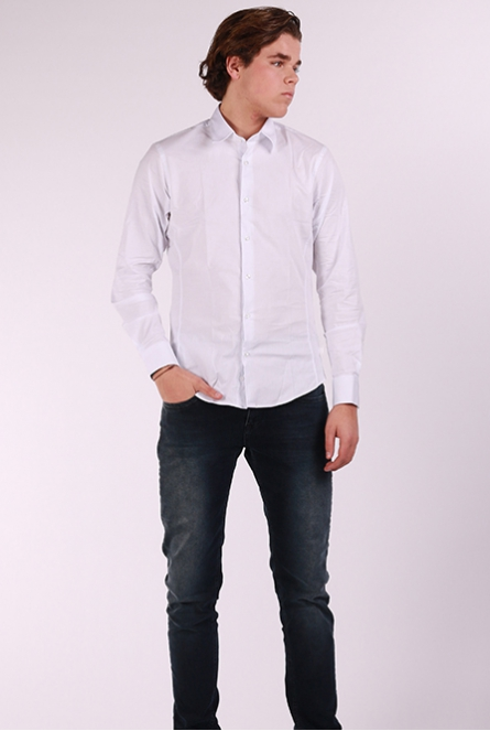 Overhemd slim-fit uni Wit
