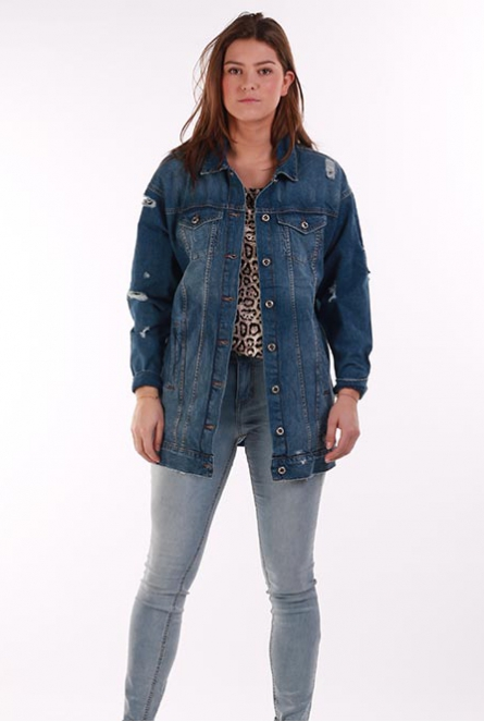 Lang spijkerjack CRISPY Medium Blue Denim