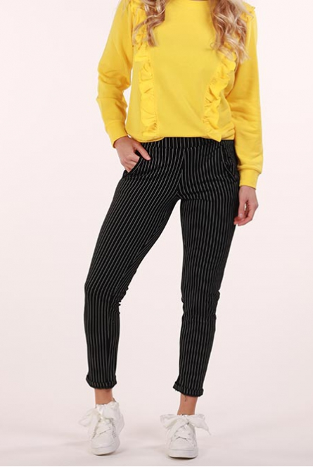 Broek Atomic met krijtstreep  Black/CLOUD DANCER PINSTRIPES