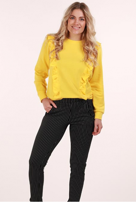 Sweater Lotte met ruches Primrose Yellow