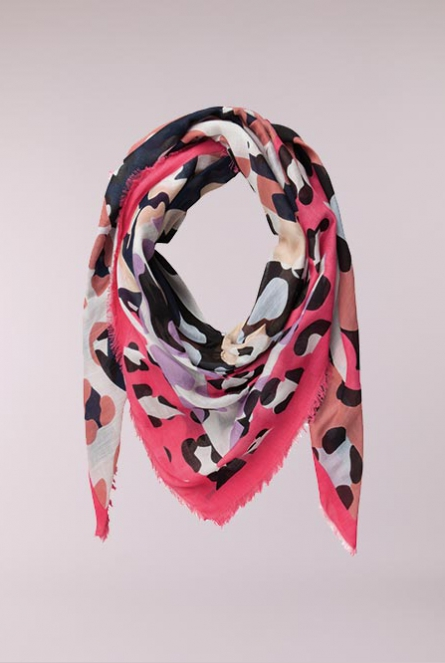 Sjaal Madison print Hot Pink