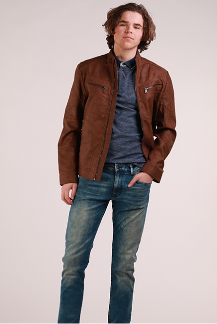 Jack leatherlook cognac leather brown