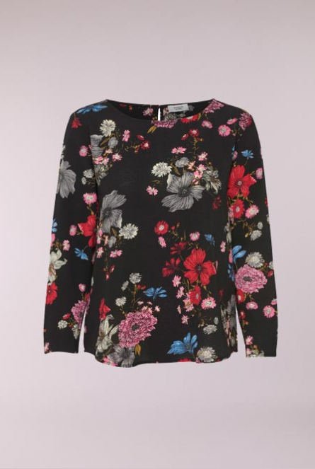 Blouse Edwind met print Black/FLOWER