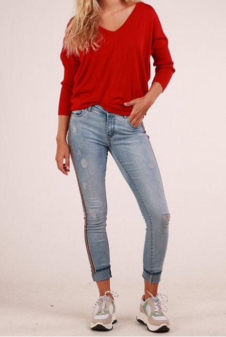 Jeans Carmen reg. met bies Light Blue Denim