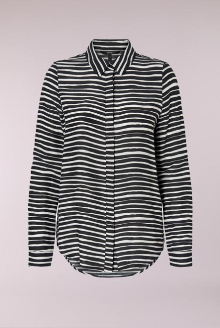 Blouse Effie met print Black/SNOW WHITE STRIPES