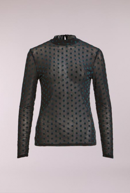 Mesh Shirt Darling met stippels Black/BAYBERRY FLOCK DOT