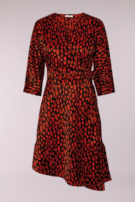Overslag jurk leopard print Black/IN ORANGE.COM LEO PRINT
