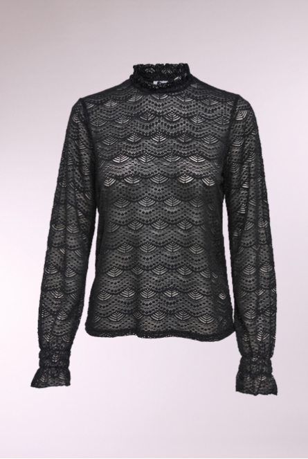 Kanten Shirt Jovi Black/LACE
