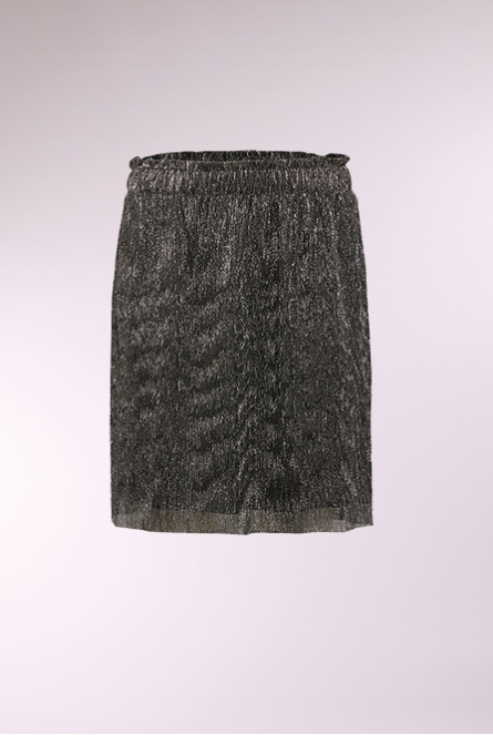 Metallic plooi Rokje black with dark silver lurex  Grey,