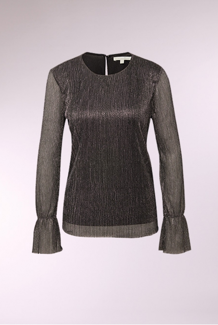 Metallic glitter Blouse black with dark silver lurex  Grey,