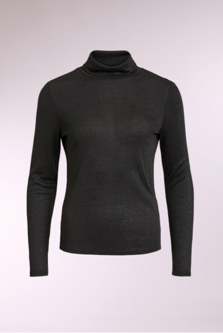 Glitter Shirt Frola met turtle neck Black/LUREX
