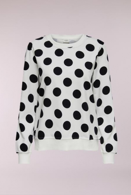 Sweater Apollo met print Cloud Dancer/BLACK MEGA DOT