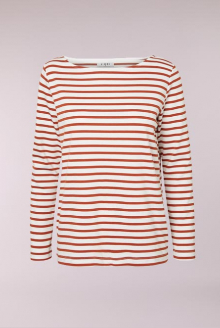 Gestreept Shirt Ingrid Bright White/AURA ORANGE