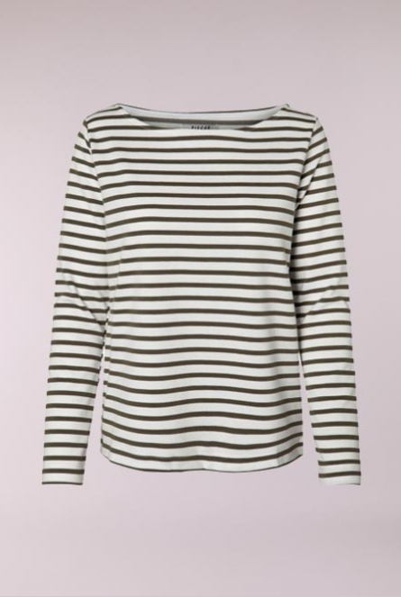 Gestreept Shirt Ingrid Bright White/OLIVE NIGHT