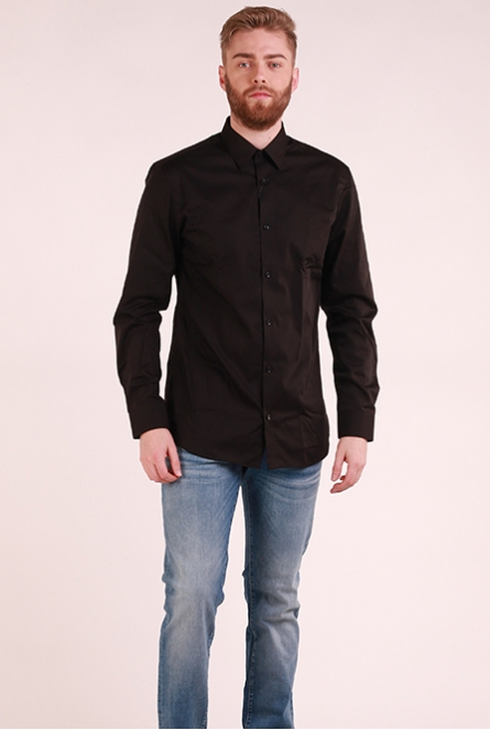 Basic overhemd Non Iron Black/SLIM FIT