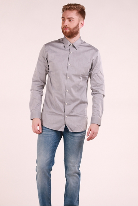 Basic overhemd Non Iron Grey Melange/SLIM FIT