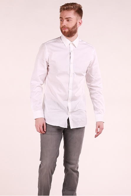 Basic overhemd Non Iron White/SLIM FIT