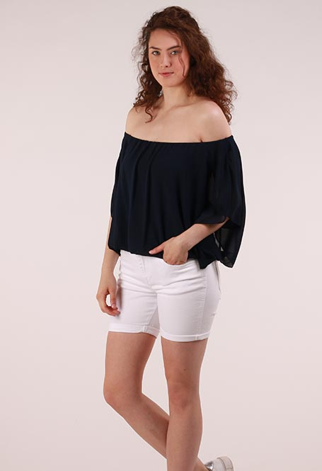 e745a94ccb8f2f Off-shoulder Blouse Donker blauw - Wild Store