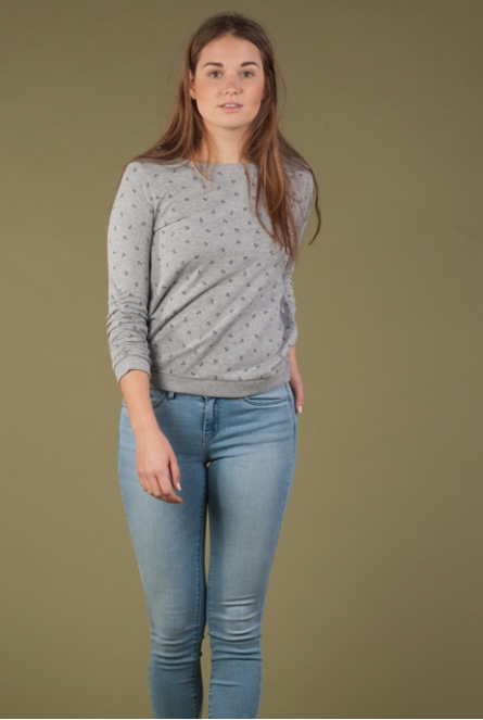 Sweater all-over anker print cement grey melange