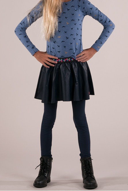 leather- look Rok  Donker blauw