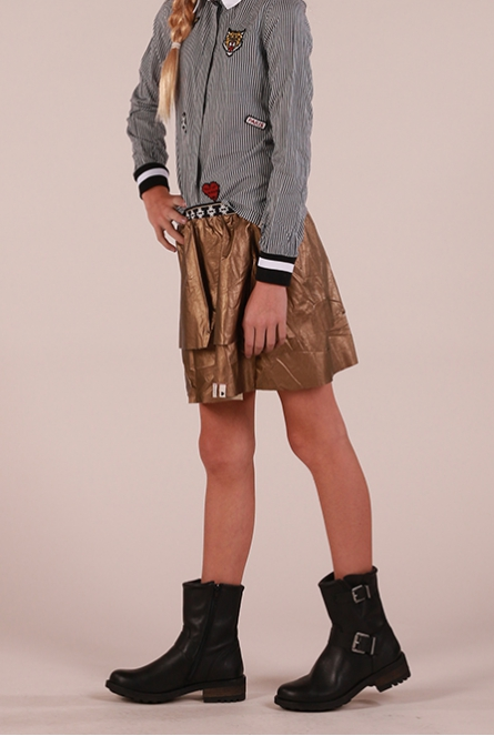 Leather look Rok Brons