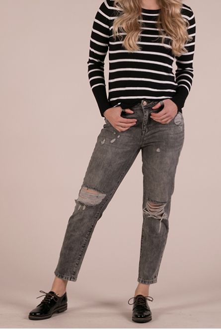 Boyfriend Destroy Jeans Tonni Grey denim