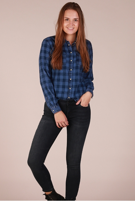 Geruite Blouse Rock it Blauw