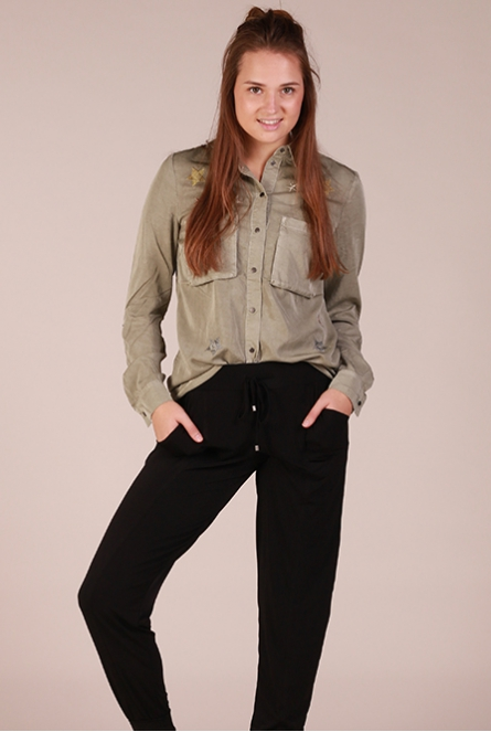 Blouse met ster patches Olijf groen