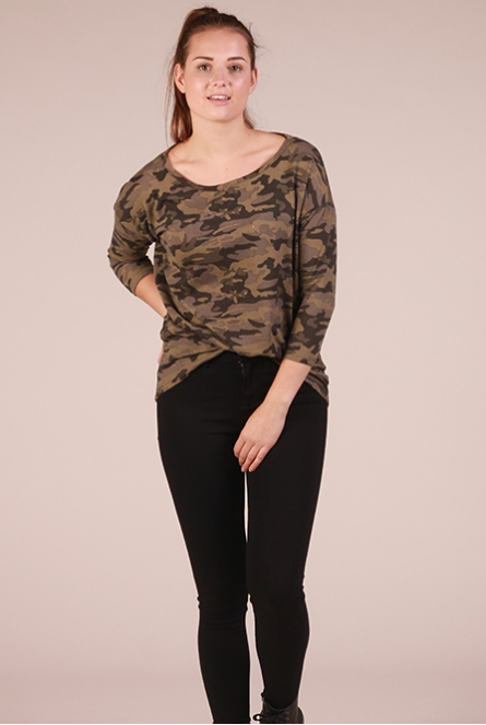 Shirt Elcos met camouflage print Army