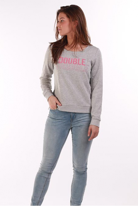 Sweater tekstprint Sound Light Grey Melange/DOUBLE TROUBLE
