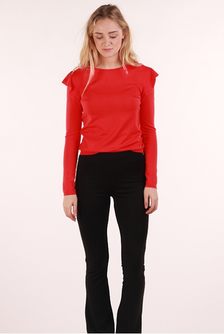 tight ruffle sweater Knit Crew strong red