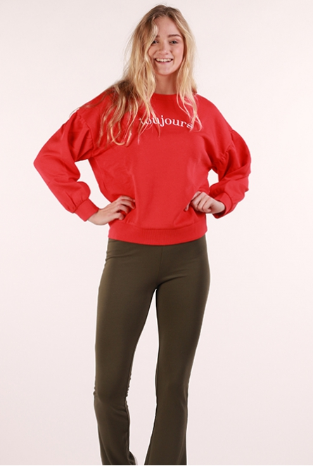 Ballon Sleeve Sweat Crew-Neck strong red
