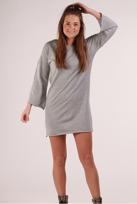 Sweat Jurk Abigail met flare mouw Light Grey Melange