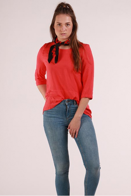 3/4 mouw Blouse Boca Poppy Red