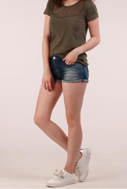 Denim Short Judie Blauw