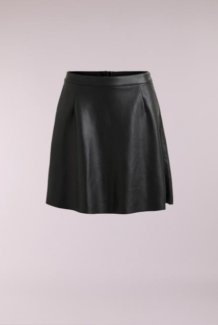 Leatherlook skater rok Pen Zwart