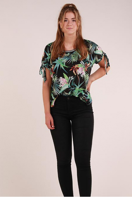 Shirt met all-over print Zwart