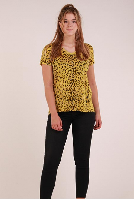 Shirt leopardprint  Geel