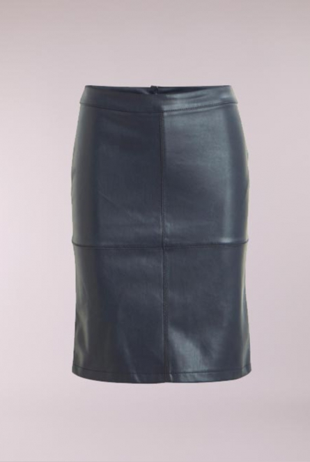 Leather look Rok Pen Blauw