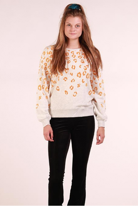 Sweater Anna Oatmeal/LEOPARD- GODEN YELLOW