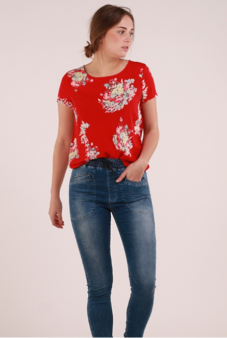 Shirt First allover print Rood