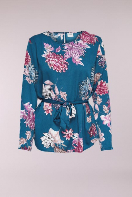 Blouse Hilda met bloemenprint Legion Blue/LARGE FLOWER
