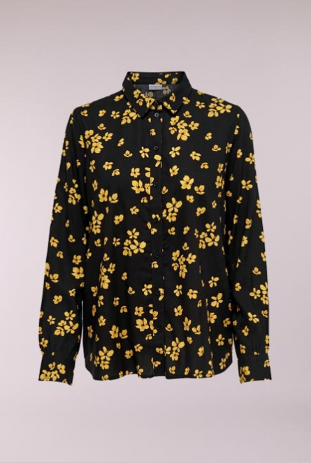 Blouse Gin met all over print Black/SPICY MUSTARD FLOWER