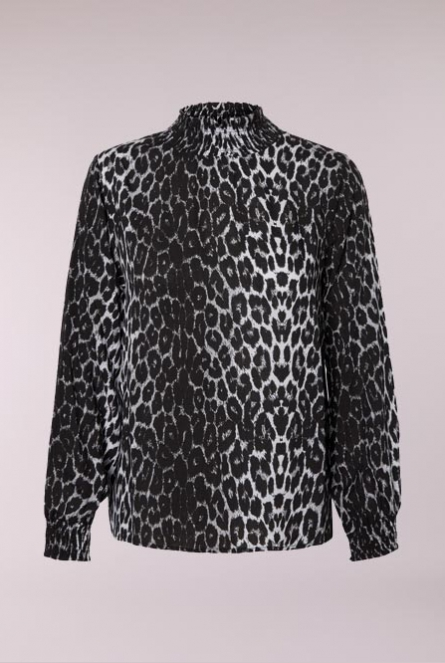 High neck leopard blouse Black/LEO