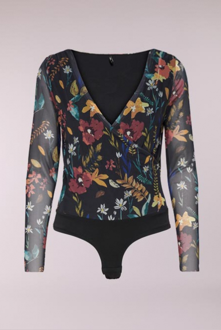 Bloemenprint Body Stine Blue Graphite/PREPPY FLOWER