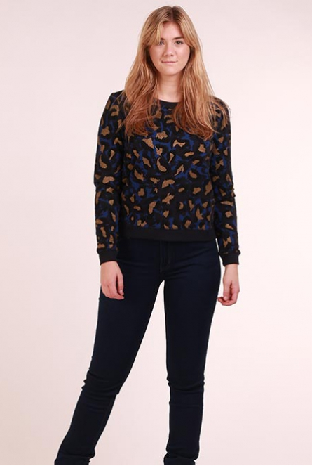 Leopard Sweater Annalise Night Sky/COMB 2